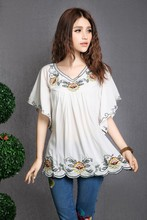 2016 Hot Sale vintage 70s mexican Ethnic Floral EMBROIDERED BOHO Hippie blouses / shirt Women Clothing Tops Tunic Free Shipping(China (Mainland))