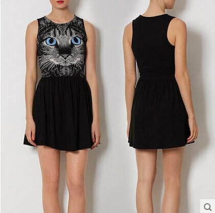 High Street Body Sexy Summer 2015 cc Sleeveless Dress Women's Black Cat Patchwork Dress Women O-neck Casual Dresses Plus Size Se(China (Mainland))