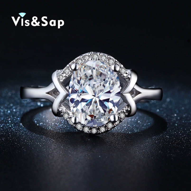 White gold plated ring oval stone CZ diamond wholesale Rings For women vintage jewellery Wedding bague fashion jewelry VSR253(China (Mainland))