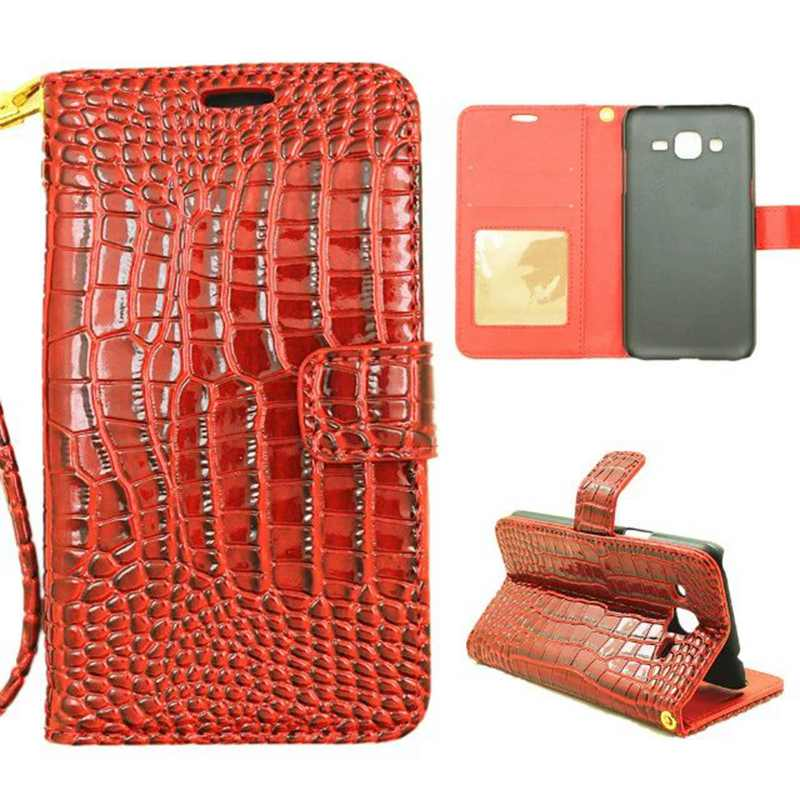 Wallet Leather Case Samsung Galaxy J1 2016 J1 ACE J1Mini Crocodile Style Cover J120 J110 J105 Flip Case Wrist Strap