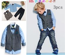 new 2015 autumn Children's european style clothing sets baby boys shirt + vest + pants 3 pcs sets kids gentleman clothes suits(China (Mainland))