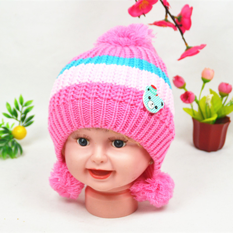 Manufacturers Wholesale New Korean children Bear Knitted Hat Wool Warm Children Hat(China (Mainland))