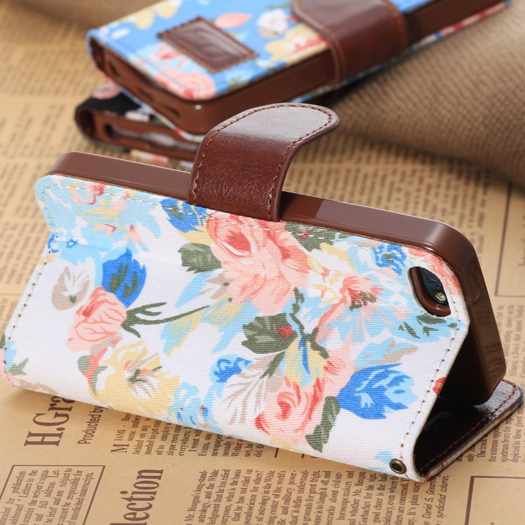 5C Flower Floral Design Flip Leather Case For Iphone 5c Hot Selling New Arrival On Market Wallet 5C Cover With Stand Function(China (Mainland))