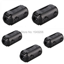 5 Pcs Black Plastic Clip On EMI RFI Noise Suppressor 5mm Cable Ferrite Core Filters Removable