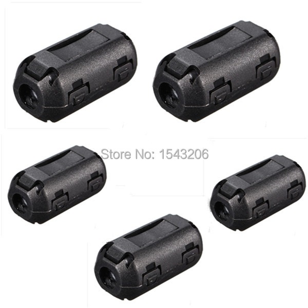 5 Pcs Black Plastic Clip On EMI RFI Noise Suppressor 5mm Cable Ferrite Core Filters Removable(China (Mainland))