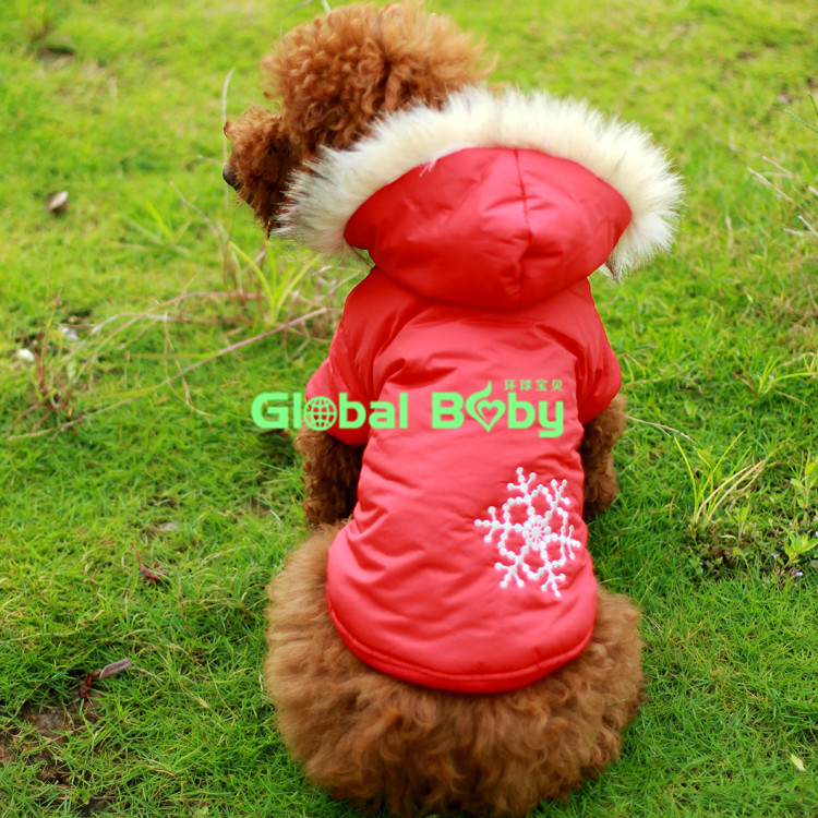 Hot Selling Cotton Warm Dog Pet Sided Jacket Reversible Winter Clothes with Snow Bristles(China (Mainland))