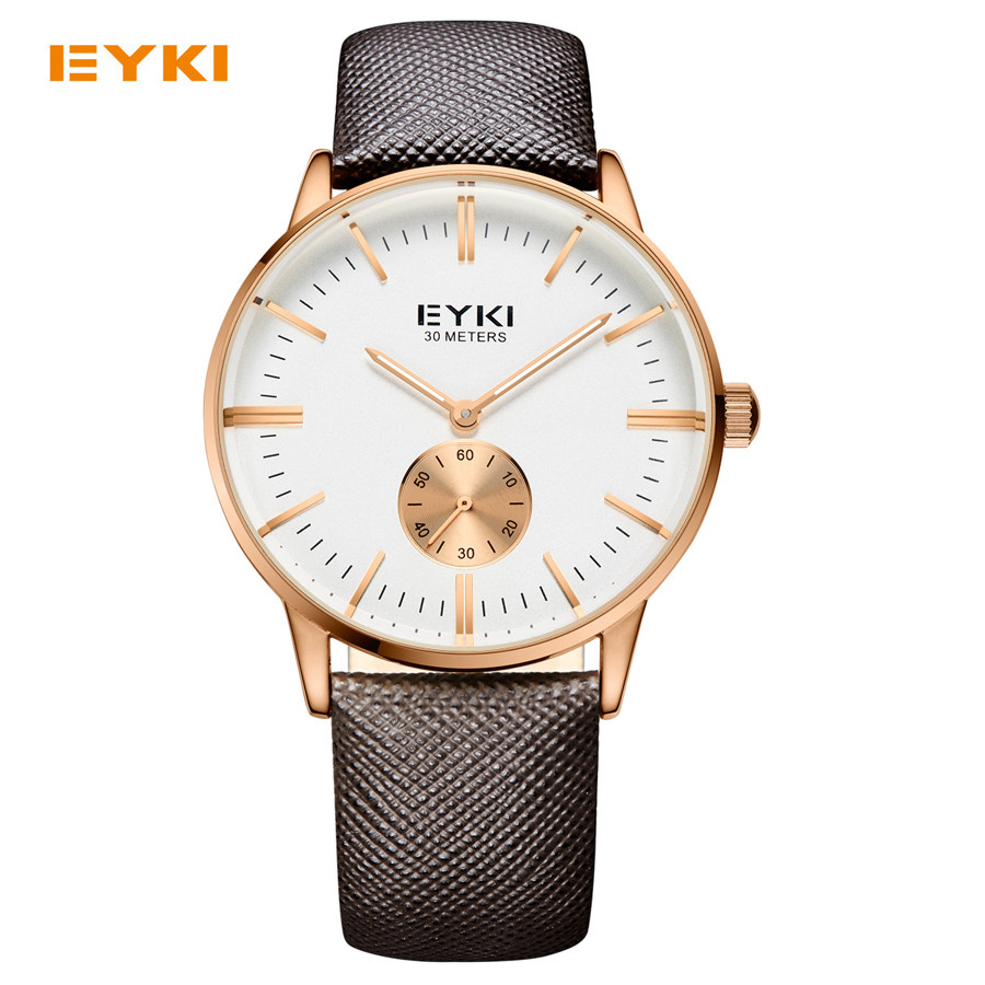 Leather Strap Small Dial Works Dress Watches 3ATM Waterproof Man Business Wristwatch 2016 EYKI Brand Fashion Men's Quartz Watch(China (Mainland))