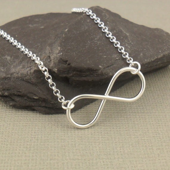 Large Infinity Necklace, Sterling Silver Necklace , Infinity Pendant Necklace, Figure Of Eight, Sterling Silver Jewellery(China (Mainland))