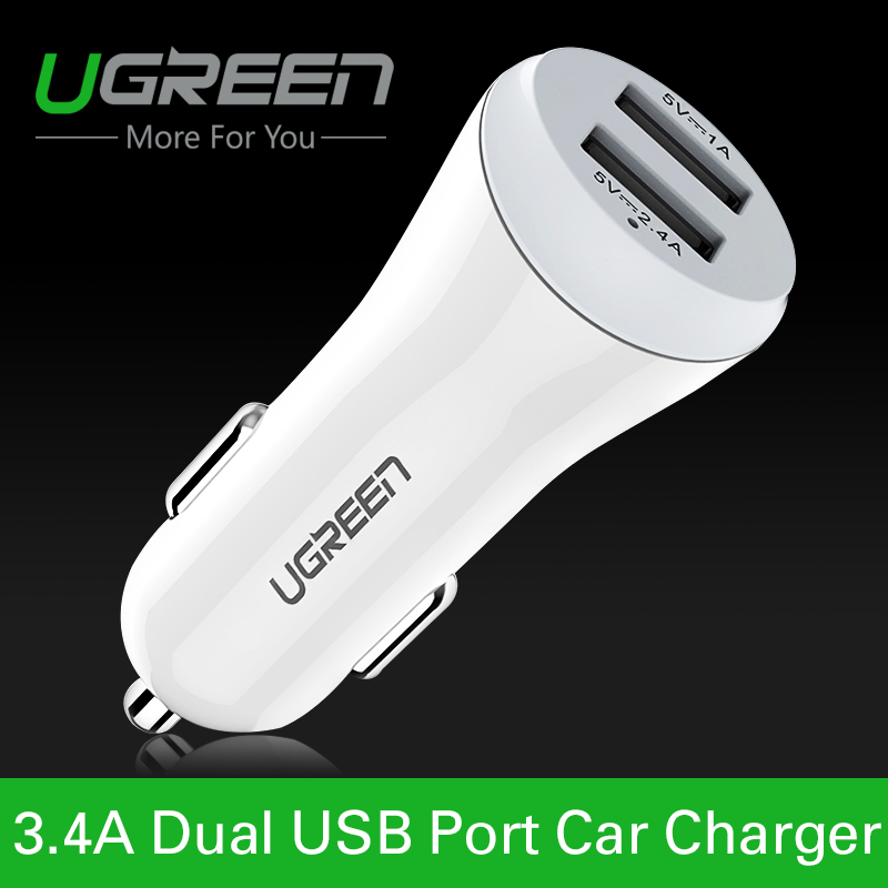 Ugreen Universal 12V 24V Dual USB Car Charger Adapter Portable Car-Charger for Sony Ericsson One Plus Two GPS(China (Mainland))