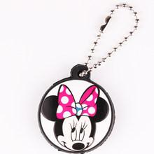 Dos desenhos animados Anime Bonito Tampa Cap Proteja Silicone Minnie Mickey Chave Chaveiro Mulheres Coruja Ponto Urso Olá Kitty Chaveiro Porte clef(China)