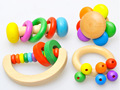 Random Rainbow Bell Grip Flower Style Musical Kids Toy Wood Sound Baby Toys For Children Multicolor