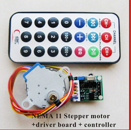 2pcs/lot 4-phase 5-wire NEMA 11 Stepper Motor+Driver Board+Remote Controller RC Multifunctional CW/CCW Running Speed Adjustable