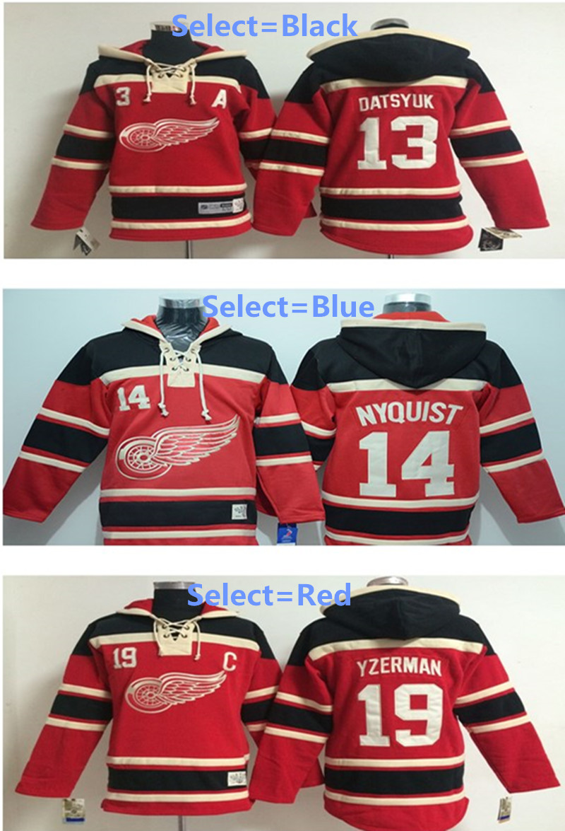 Pavel Datsyuk Hoody Jersey Red Wings #13 Dylan Larkin Steve Yzerman Home Premier Stitched High quality hoodie Ice Hockey Jersey(China (Mainland))