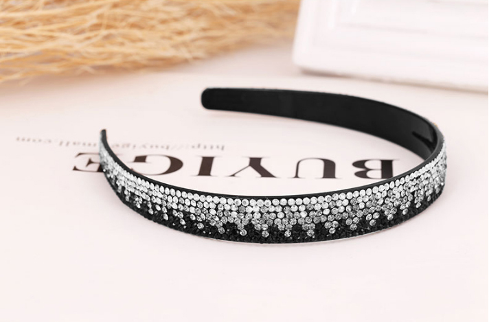 Korean Women Simple Gradient Color Broadside Rhinestone Headband Dazzling Acrylic Head Hoop For Girl Glitter Boutique Hair Bows(China (Mainland))