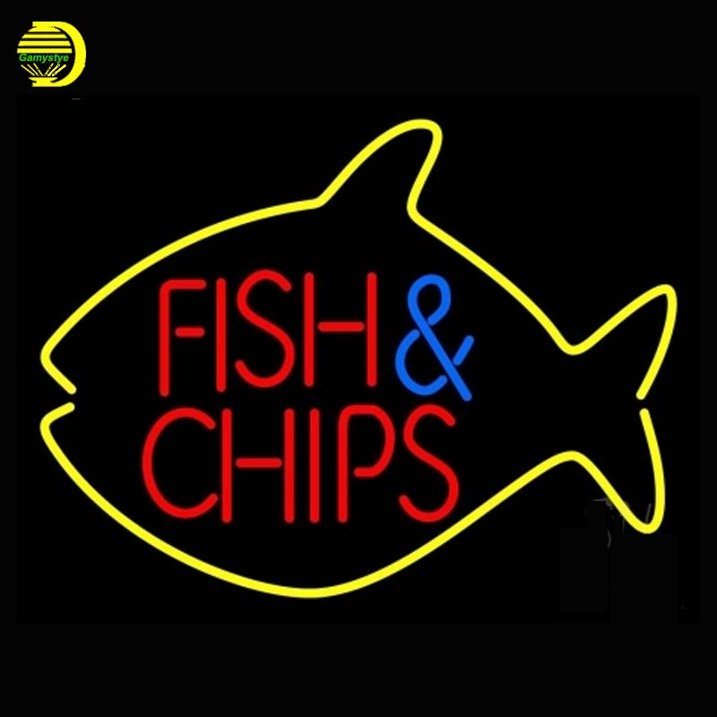 Fish And Chips Inside Fish Neon Sign Neon Bulb Arcade Sign Shop Display Tube Glass Neon Handcrafted Glass Tube Affiche 17x14 vd(China (Mainland))