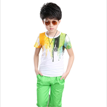 New arrived Fashion Casual Boy painting pattern Sport Suits Leisure clothes for Kids Child clothing sets for Baby Boy to teenage(China (Mainland))
