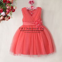 New Fashion Girl Party Dress Watermelon Red Wedding Girls Dresess With Flower Grace Girls Clothes Children Wear  Free Shipping