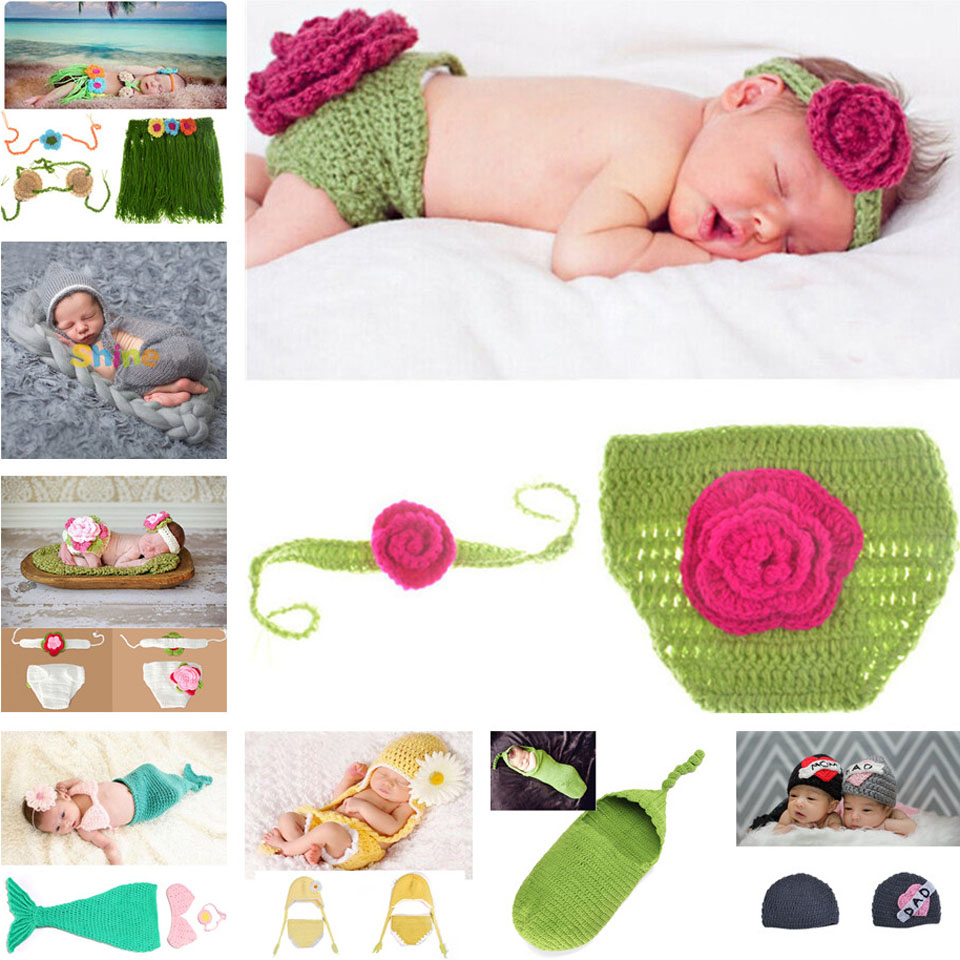 Crochet Flower Design hat Baby Girl Photography Props cap Knitted Infant Pants Set Newborn Photo Prop Crochet 8 style can choose(China (Mainland))