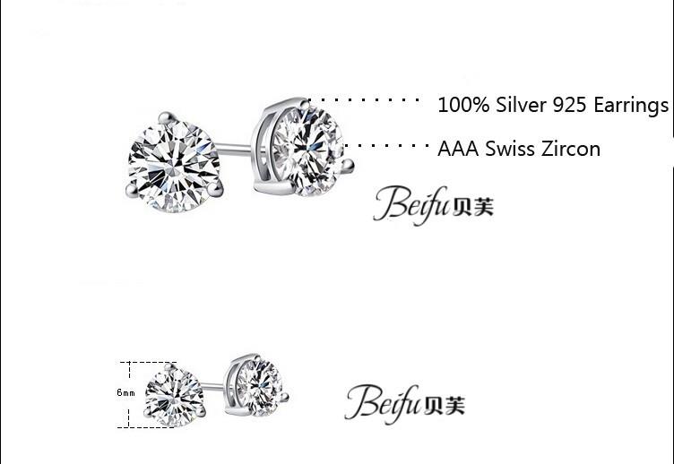 Новый драгоценный камень ювелирных изделий классический женский три когтя набор серьги сделаны с подлинной 925 серебряные серьги