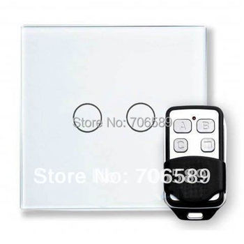 livolo AC110~250V(50/60Hz) 2 Gang Wireless Remote Control Switch,Smart Home Waterproof Glass Panel Touch Wall Light System