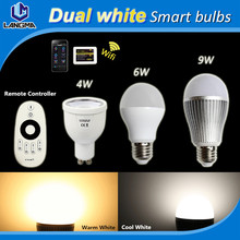Smart WiFi Dimmable CCT Warm Cool White GU10 E27 Lampada Bombillas iPhone Android remote control 2.4G RF Wireless LED Light Bulb(China (Mainland))