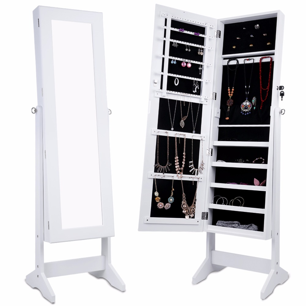 LANGRIA Free Standing Lockable Mirrored Jewelry Armoire with Stand 4 Angle Adjustable Cabinet Organizer Storage for Earrings(China (Mainland))