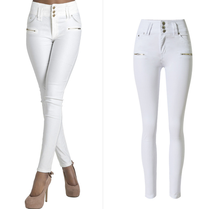 Name Brand Designer Cheap Women Jeans Slim Fit White Jeans High Waist Women Zipper Jeans Female Branding Clothes Top Sale S2380(China (Mainland))