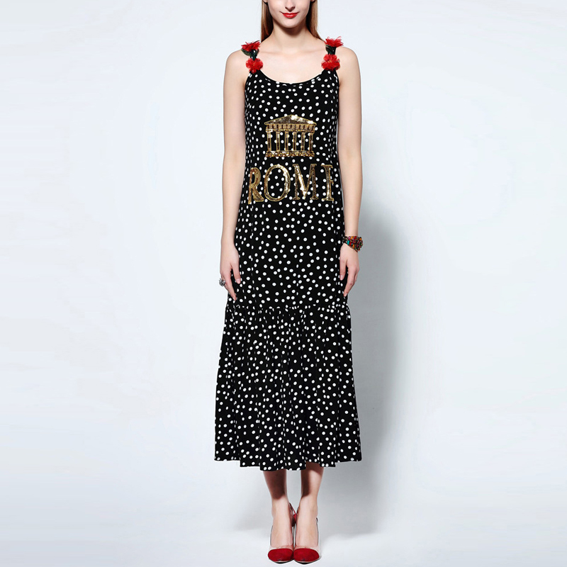 HIGH QUALITY Newest Fashion 2016 Runway Dress Womens Strap Dot Print Luxury Sequined Letter Mid-calf DressОдежда и ак�е��уары<br><br><br>Aliexpress