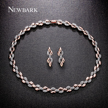 NEWBARK Rose Gold Color Jewelry Sets Statement Ordered Arrangement Wheat Necklace + Earrings for Women Jewelry Set(China (Mainland))
