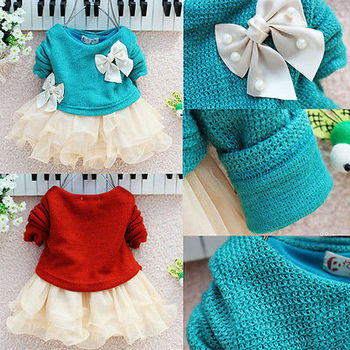 Fancy Baby Girls Knit Sweater Tops Lace Tulle Tutu Bow Party Dresses Clothing UK