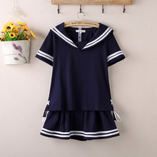 2015 new Hot Japanese Sailor Collar White Shirt harajuku t shirt women cosplay costume Top Double