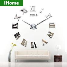 Living Room DIY large quartz Acrylic mirror wall clock, 3D Roman numerals design & Fashion Art Home Decor stickers wall Watches(China (Mainland))