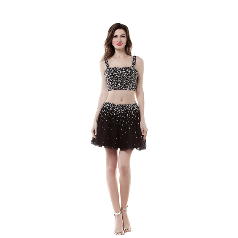 Two Pieces Sequins Knee Length Sweetheart Cocktail Dresses Women's Short Black 2015 Sexy Homecoing Party Gowns(China (Mainland))