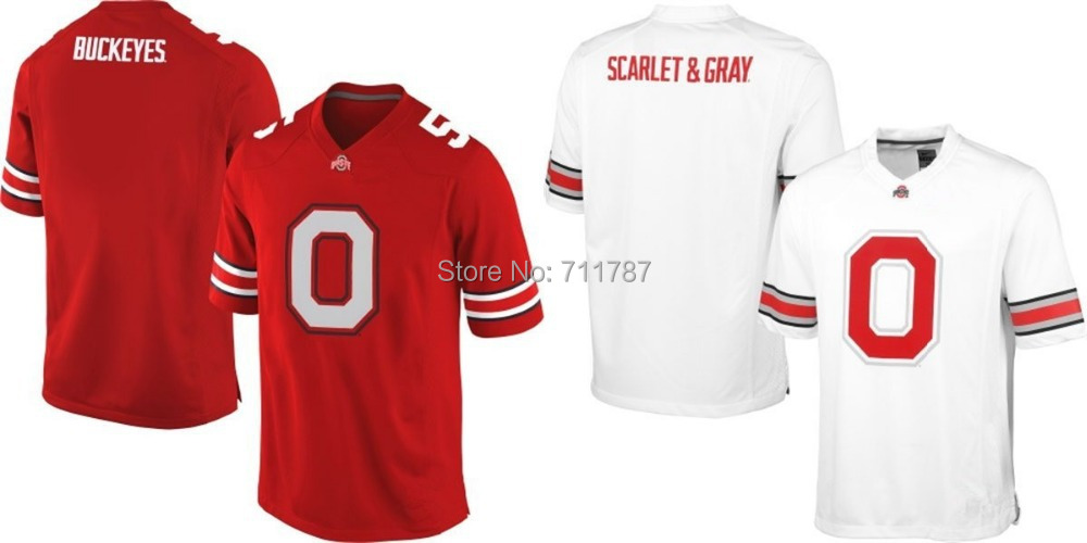 Free Shipping Men's Buckeyes Ohio State Buckeyes 0# Team red white Pride Fashion College Football Jersey Embroidery logos, M-3XL(China (Mainland))