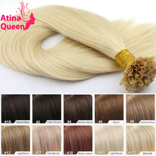 7A Pre Bonded Hair Extensions 1g U Tip Nail Tip European Human Hair Keratin Extension Straight Virgin Remy Fusion Hair Extension(China (Mainland))