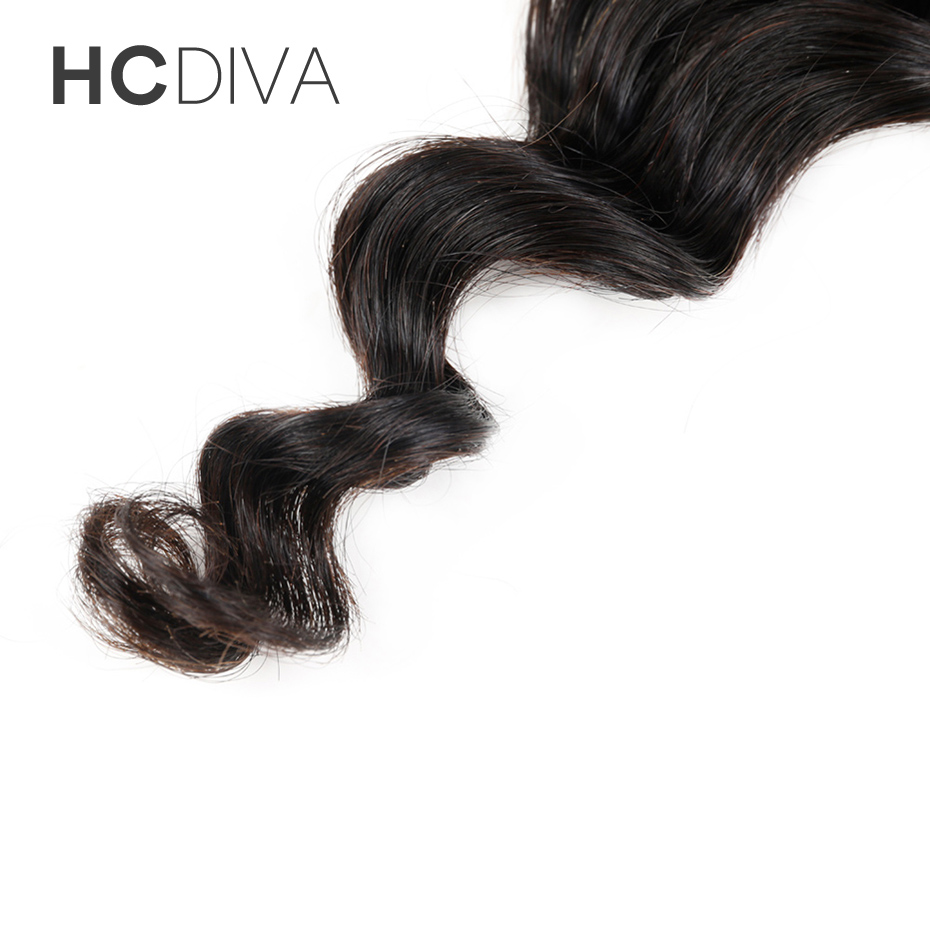 HCDIVA HAIR Free Part Peruvian Non Remy Hair Loose Wave Closure 4×4 Medium Brown Swiss Lace Human Hair 8″-18″ Lace Closure