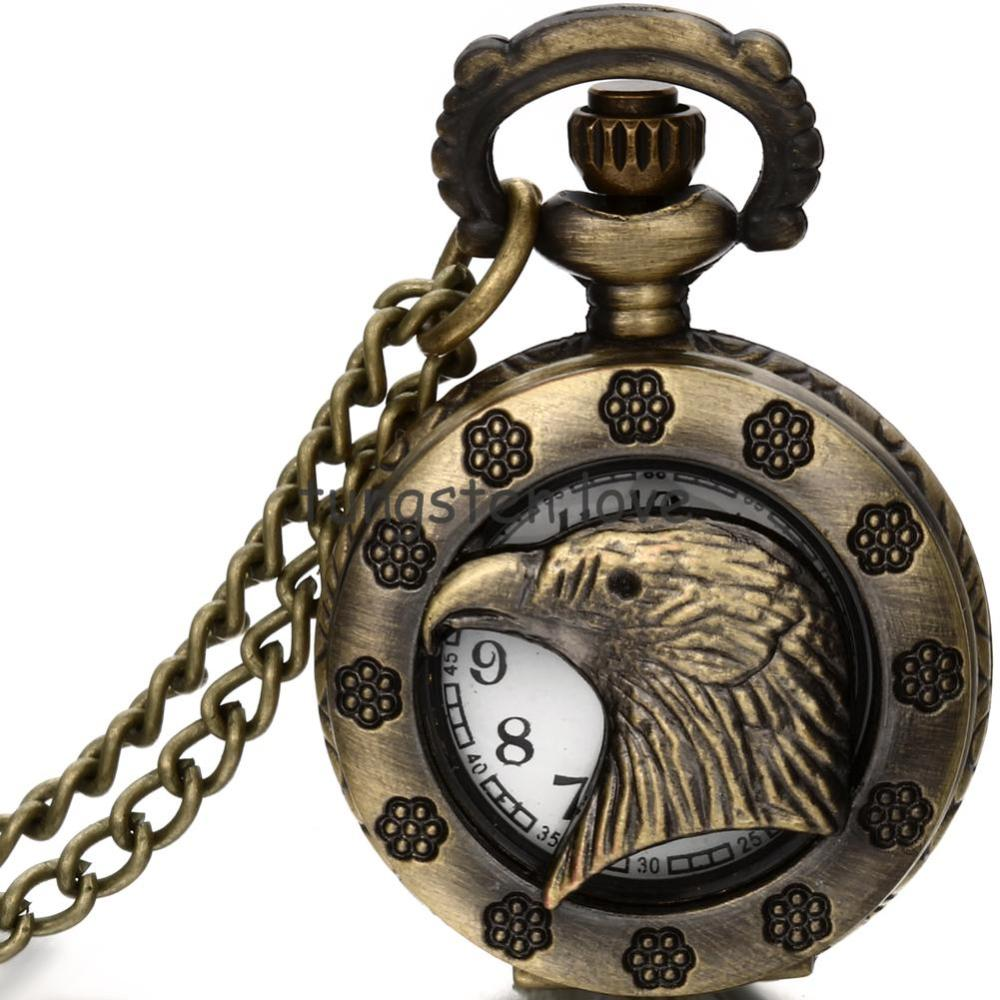 Vintage Eagle Head Hollow Pendant Bronze Tone Cable 80 cm Chain Pocket Watch Pendant Necklace for Men boys gifts(China (Mainland))