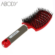 Abody Bristle&Nylon Detangle Hairbrush Women Hair Scalp Massage Comb Wet Hair Brush for Salon Hairdressing Styling Tools(China (Mainland))