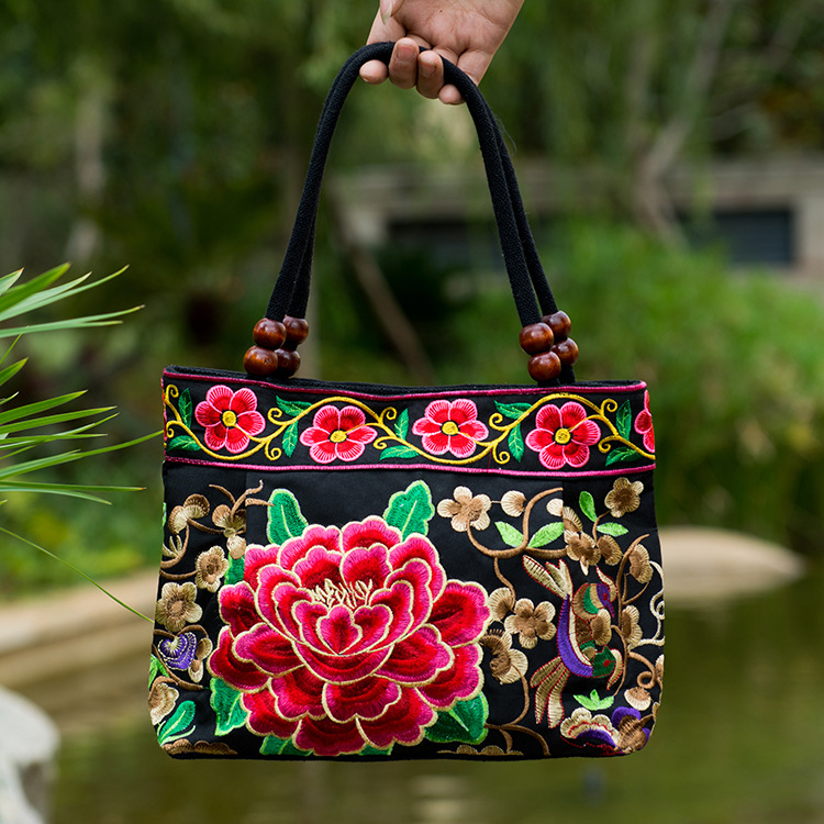 Embroidery Women Handbag Ethnic Bags Handmade Embroidered Canvas Tote Shopping Travel Retail Fabric Soft Lady Shoulder Bag(China (Mainland))
