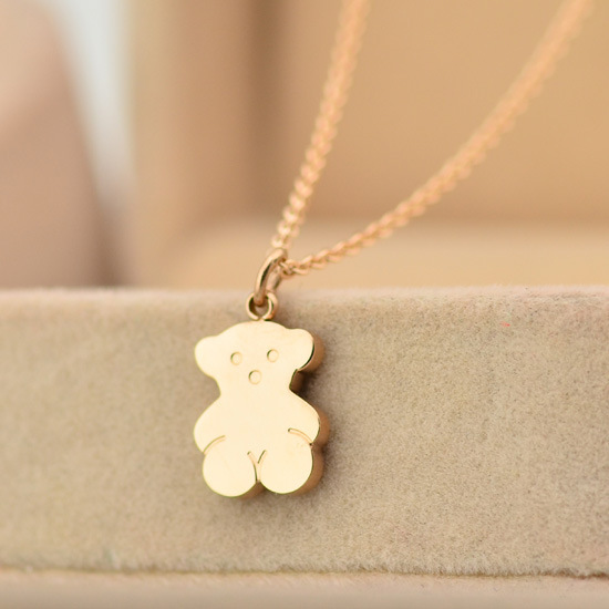 stainless steel bear Pendants Necklaces For Women's,18k Real Gold Vacuum Plated 2 years warranty(China (Mainland))