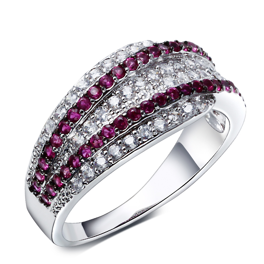 2015 New Ring Platinum Plated Micro Pave AAA ruby and clear Cubic Zircon Brand Ring For
