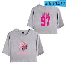 BLACKPINK ROSE LISA JISOO JENNIE Women's Exposed Navel Sexy Short T shirt Lady's Kpop Hip Hop O-Neck Summer Cool T-Shirts(China)