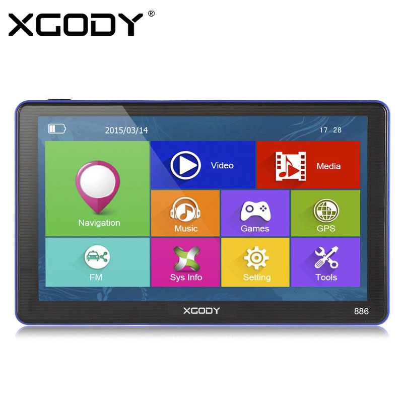 HOT XGODY 7 inch Capacitive Screen Car Truck GPS Navigation 256M 8G Bluetooth AV-IN FM Car Navigator Europe Russia Navitel Maps(China (Mainland))