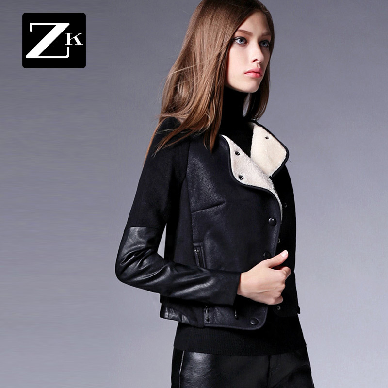 Spring Jacket Women Womens Coats And Jackets Winter 2016 New Fashion Large Lapel Stitching black Short Wool Coat High QualityОдежда и ак�е��уары<br><br><br>Aliexpress