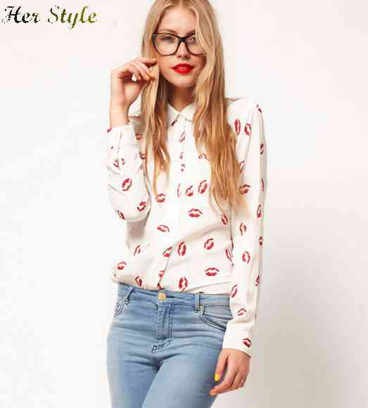Free Shipping 2015 lips long sleeve shirt red lip print chiffon blouse 1425986736(China (Mainland))