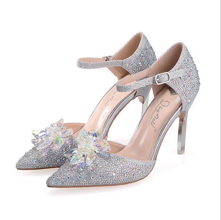 cinderella glass slipper rhinestone womens crystal wedding. Black Bedroom Furniture Sets. Home Design Ideas