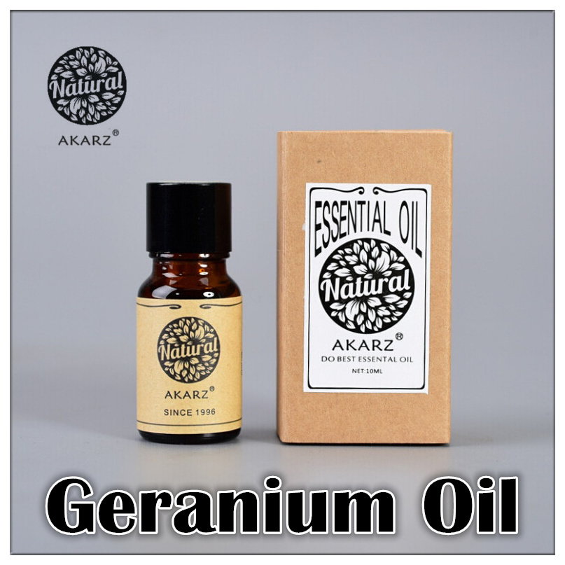 Famous brand AKARZ pure natural aromatherapy geranium oil Remove Relieve pain Acne Clean skin Relax Detox Chest massage(China (Mainland))