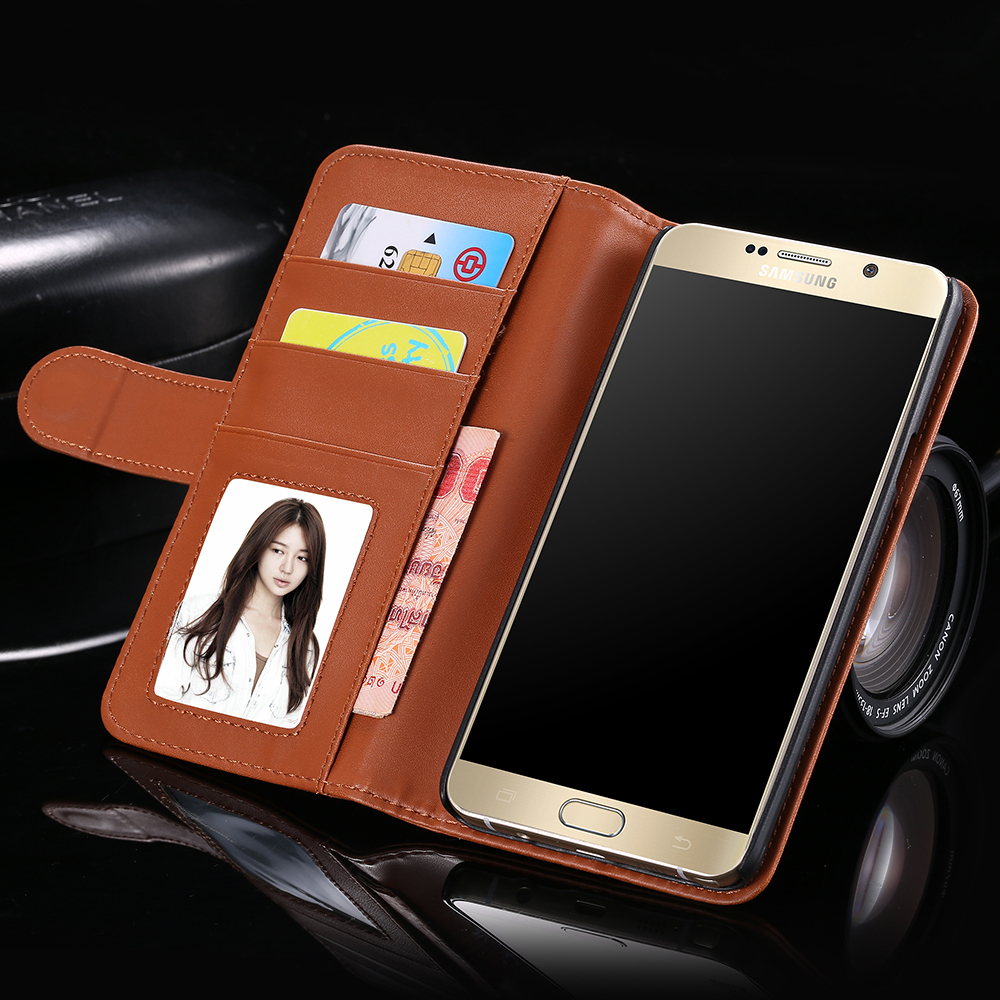 1pcs/lot Retail Plain Skins Card Slot Leather Case For Samsung Galaxy Note 5 N9200 Photo Frame Magnetic Flip Phone Cover Note5(China (Mainland))