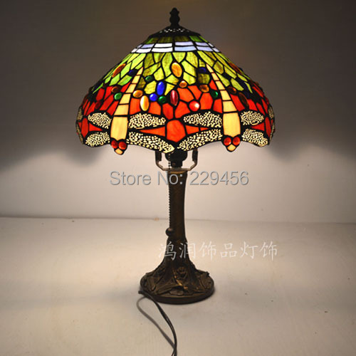 dragonfly stained glass lampshade tiffany table lamp country style 12. Black Bedroom Furniture Sets. Home Design Ideas
