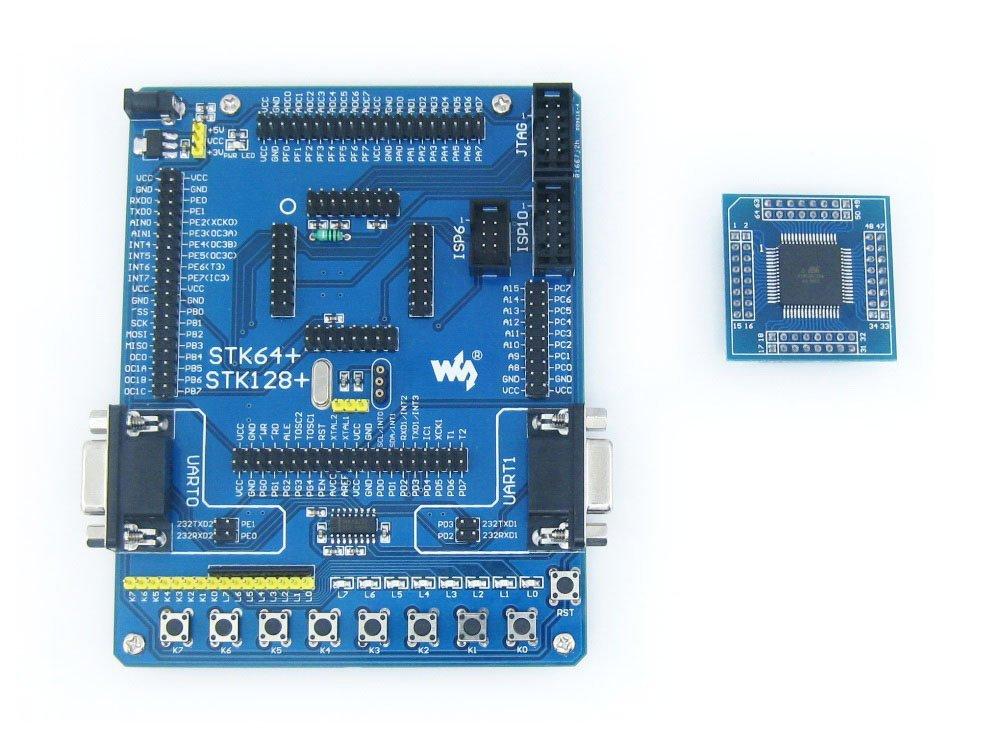 ATmega64 Board ATmega64A ATMEL AVR Development Board Kit + 2pcs ATmega64A-AU Cores = Waveshare STK64+ Premium(China (Mainland))